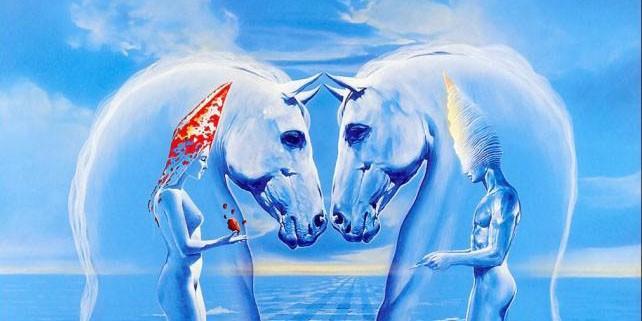 Лошади мужчина и женщина на фоне