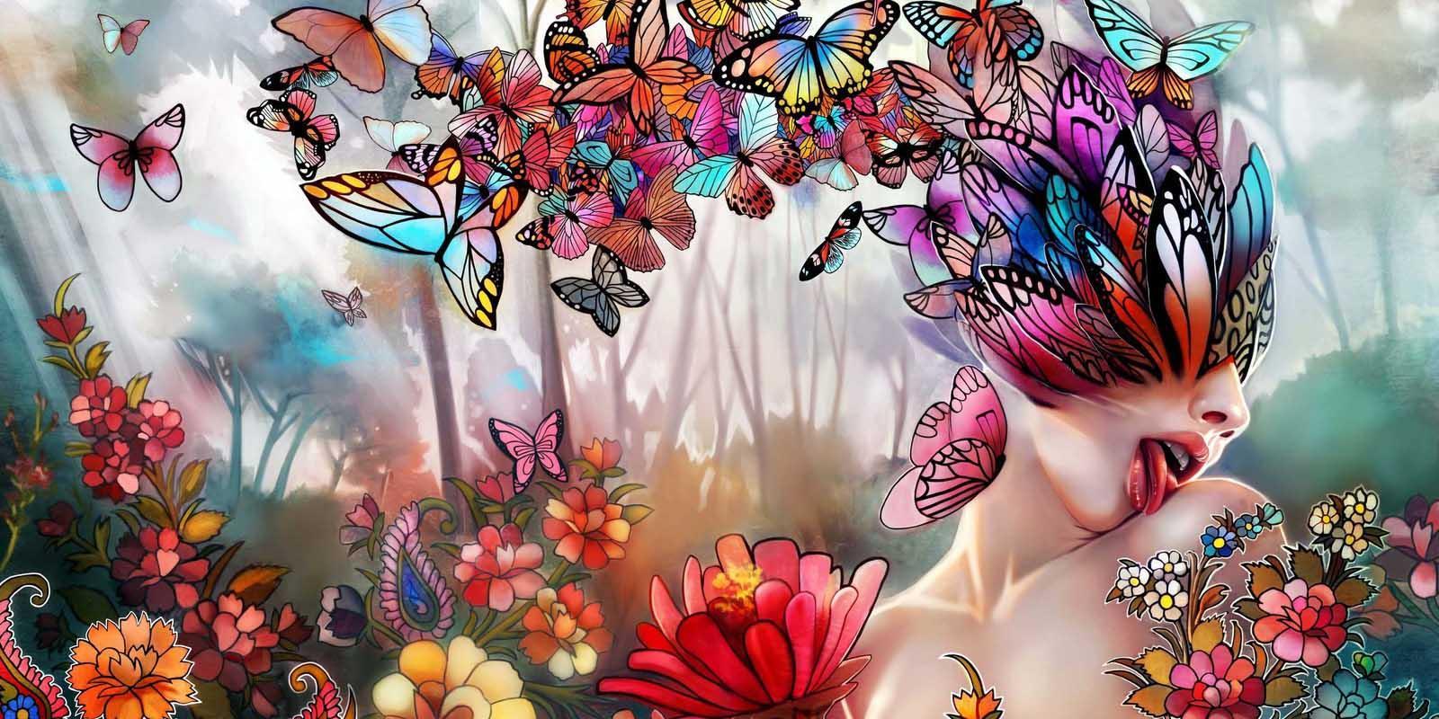 Женщина с бабочками в голове