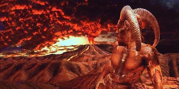 Овен на фоне вулкана