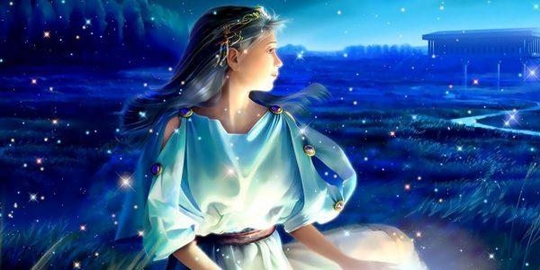 Прекрасная Дева на фоне звезд