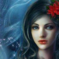 Девушка с цветком в волосах