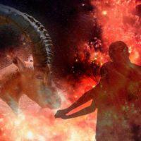 Пара теней на фоне огненного Козерога