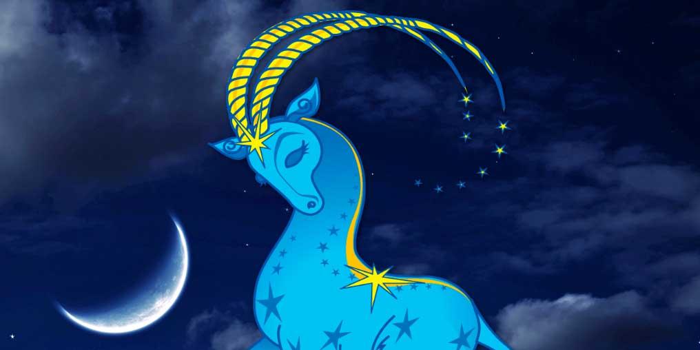 Нарисованный Козерог и луна