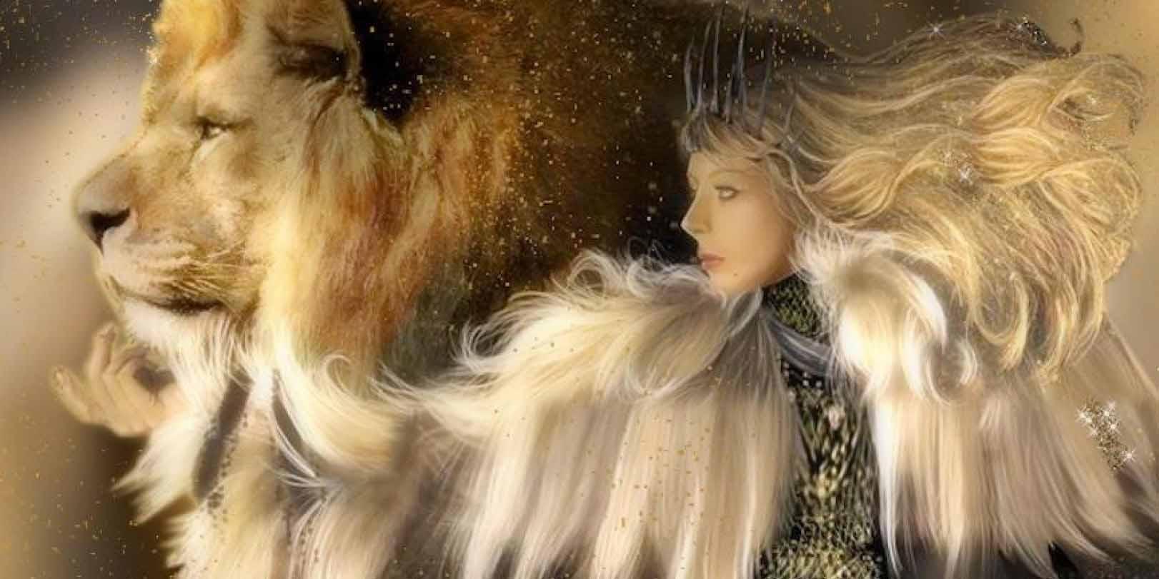Красивое фото со Львом и девушкой
