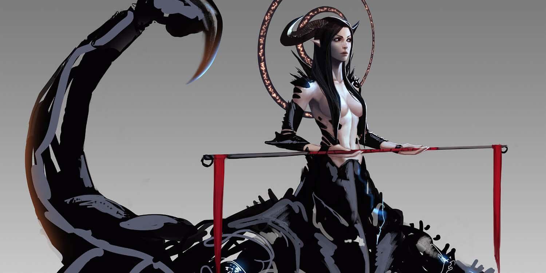 Женщина Скорпион держит палку