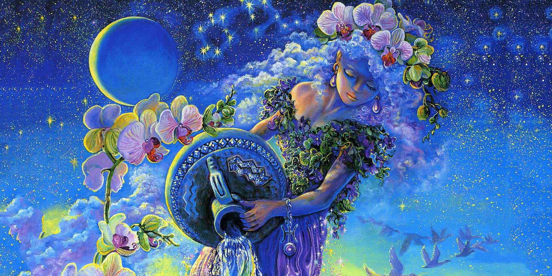 Женщина в цветах льет воду