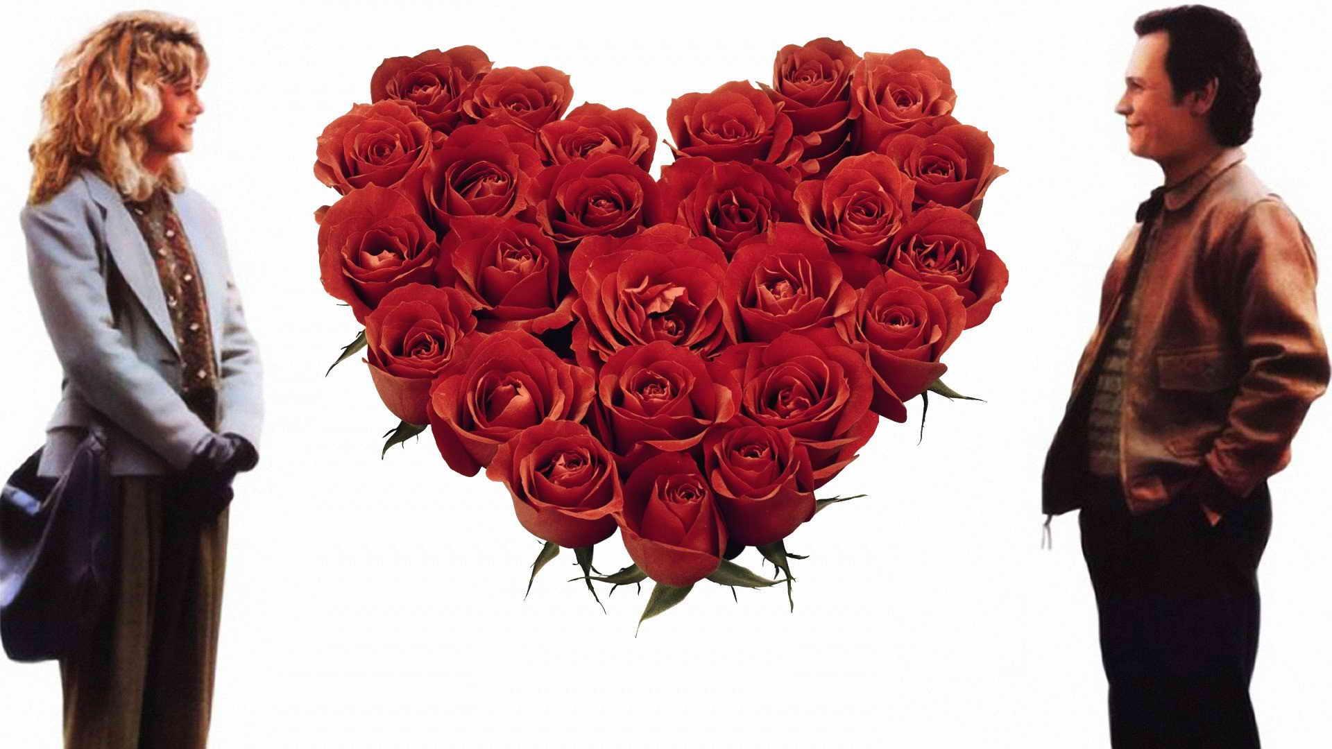Мужчина, женщина и букет из роз в виде сердца