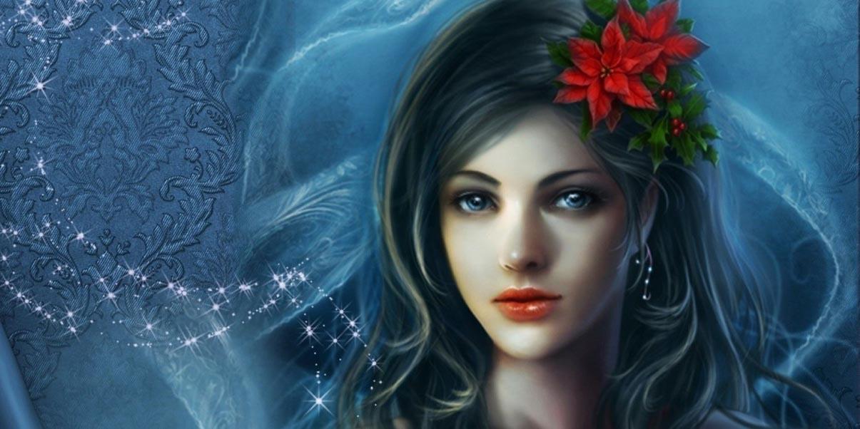 Красивая Дева с цветком