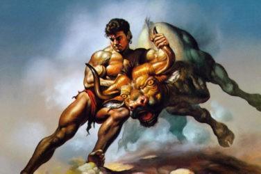Мужчина держит Тельца за рога