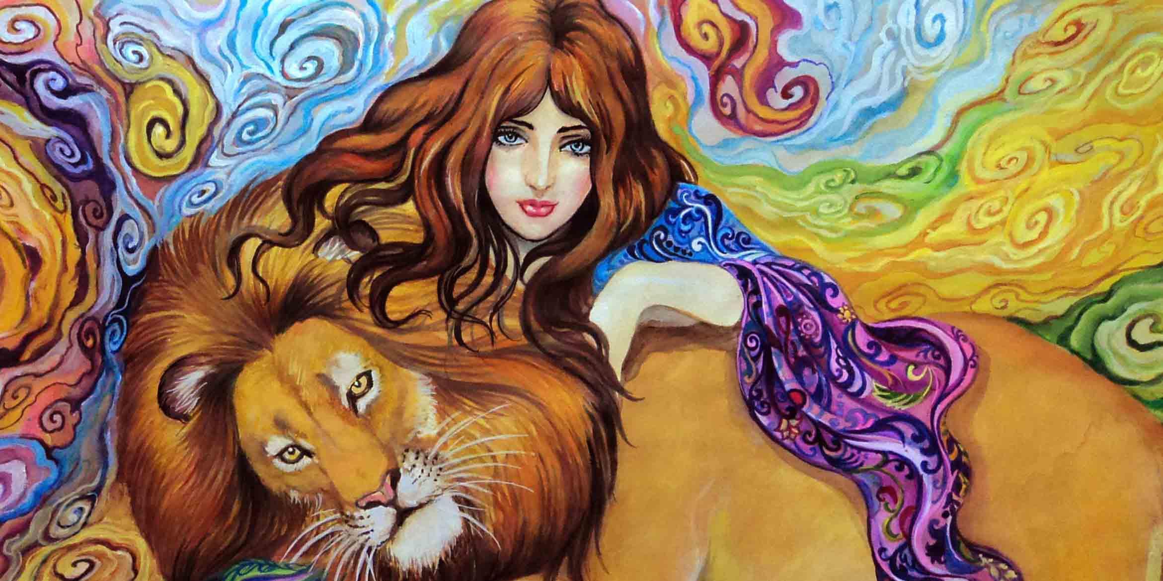 Рисунок женщина и Лев