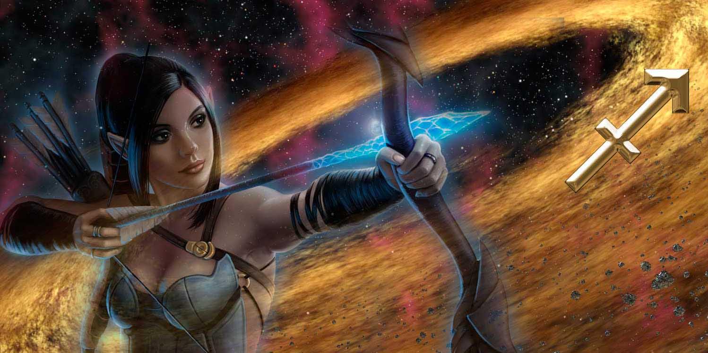 Девушка Стрелец в галактике