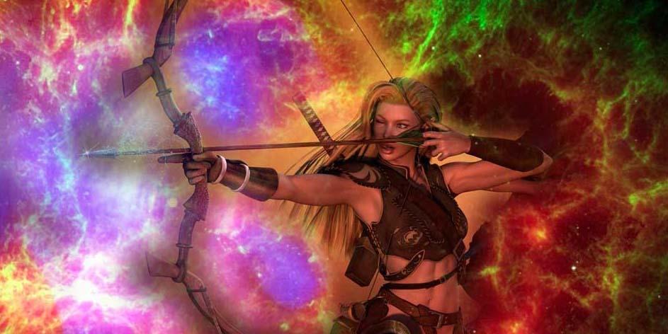 Огненная женщина Стрелец и лук